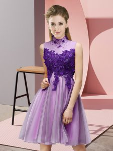 Lilac Sleeveless Appliques Knee Length Vestidos de Damas