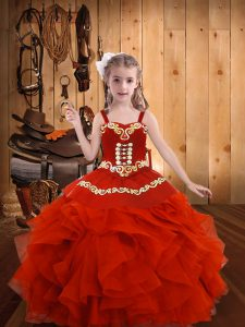 Trendy Straps Sleeveless Pageant Dress Toddler Floor Length Embroidery and Ruffles Coral Red Organza