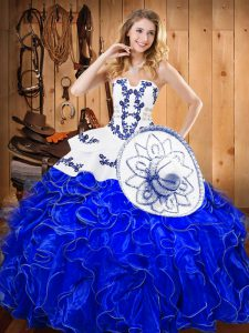 Elegant Embroidery and Ruffles Quinceanera Gown Blue And White Lace Up Sleeveless Floor Length