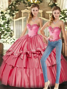 Watermelon Red Sweetheart Neckline Beading and Ruffled Layers Sweet 16 Quinceanera Dress Sleeveless Lace Up