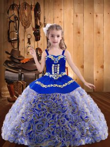 Custom Fit Sleeveless Lace Up Floor Length Embroidery and Ruffles Little Girl Pageant Gowns