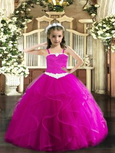 Low Price Fuchsia Sleeveless Appliques and Ruffles Floor Length Girls Pageant Dresses