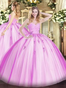 Sleeveless Tulle Floor Length Lace Up Sweet 16 Quinceanera Dress in Lilac with Beading and Appliques