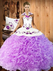 Glorious Sleeveless Floor Length Embroidery Lace Up Quinceanera Dress with Lilac
