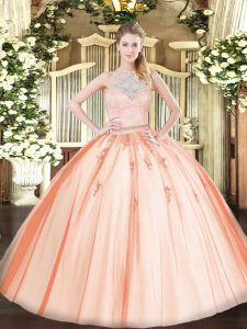 Smart Sleeveless Floor Length Lace and Appliques Zipper 15th Birthday Dress with Orange