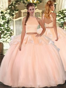 Sleeveless Organza Floor Length Backless Quinceanera Dresses in Peach with Beading