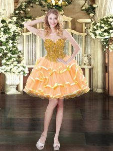 Peach Lace Up Sweetheart Beading and Ruffled Layers Prom Gown Organza Sleeveless