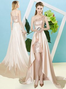 Best Selling Sleeveless High Low Sequins Lace Up Dress for Prom with Champagne