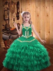 Lovely Turquoise Pageant Dress for Womens Party and Sweet 16 and Quinceanera and Wedding Party with Embroidery and Ruffled Layers Straps Sleeveless Lace Up