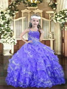 Straps Sleeveless Kids Pageant Dress Floor Length Beading and Ruffled Layers Lavender Organza