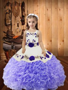 Fabric With Rolling Flowers Sleeveless Floor Length Pageant Gowns For Girls and Embroidery and Ruffles