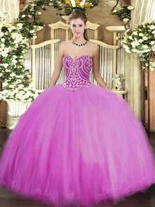 High End Lilac Tulle Lace Up Quince Ball Gowns Sleeveless Floor Length Beading