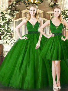 Dark Green Lace Up Straps Ruching Sweet 16 Dresses Tulle Sleeveless