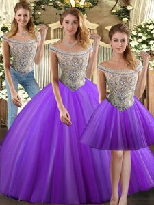 Floor Length Eggplant Purple Quinceanera Gowns Bateau Sleeveless Lace Up