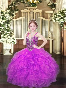 Eye-catching Floor Length Lace Up Girls Pageant Dresses Lilac for Party and Quinceanera and Wedding Party with Beading and Ruffles