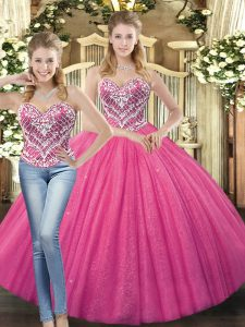 Hot Pink Sleeveless Tulle Lace Up Quinceanera Dresses for Military Ball and Sweet 16 and Quinceanera