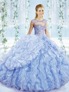 Gorgeous Blue Lace Up Quinceanera Dresses Beading and Ruffles and Pick Ups Sleeveless Brush Train