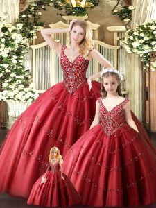Red Tulle Lace Up Straps Sleeveless Floor Length 15 Quinceanera Dress Beading