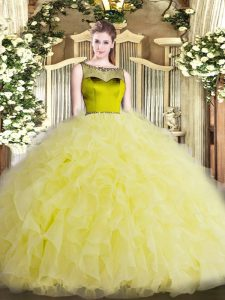 Fashion Yellow Scoop Neckline Beading and Ruffles Quinceanera Gowns Sleeveless Zipper