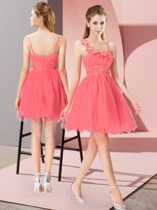 Fantastic Coral Red Empire Beading and Hand Made Flower Zipper Organza Sleeveless Mini Length