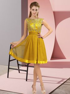 Empire Prom Evening Gown Gold Scoop Chiffon Sleeveless Knee Length Backless