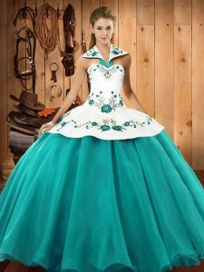 On Sale Turquoise Quinceanera Gowns Military Ball and Sweet 16 and Quinceanera with Embroidery Halter Top Sleeveless Lace Up