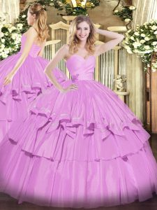 Amazing Lilac Sleeveless Taffeta Lace Up Quinceanera Dress for Military Ball and Sweet 16 and Quinceanera