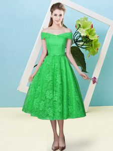 Green Off The Shoulder Neckline Bowknot Dama Dress Cap Sleeves Lace Up