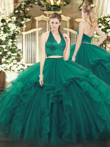 Superior Floor Length Two Pieces Sleeveless Dark Green Quinceanera Gowns Zipper