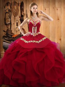 New Style Burgundy Lace Up Sweetheart Embroidery and Ruffles Sweet 16 Quinceanera Dress Organza Sleeveless