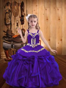 Purple Organza Lace Up Kids Pageant Dress Sleeveless Floor Length Embroidery and Ruffles