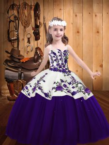 Purple Ball Gowns Tulle Straps Sleeveless Embroidery Floor Length Lace Up Kids Formal Wear