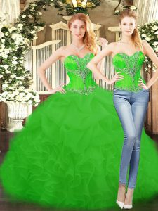 Cute Green Organza Lace Up Sweetheart Sleeveless Floor Length 15 Quinceanera Dress Beading and Ruffles