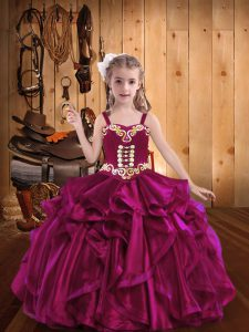 Fuchsia Sleeveless Floor Length Embroidery and Ruffles Lace Up Little Girls Pageant Dress