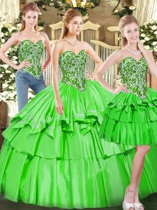 Dramatic Floor Length 15 Quinceanera Dress Tulle Sleeveless Beading and Ruffled Layers