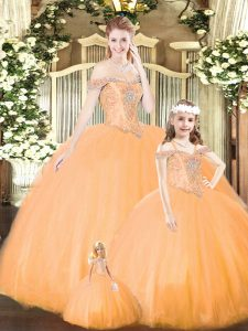 Ball Gowns Quince Ball Gowns Orange Off The Shoulder Tulle Sleeveless Floor Length Lace Up