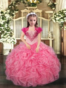 Coral Red Lace Up Straps Beading and Ruffles Pageant Gowns For Girls Organza Sleeveless