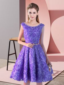 Lavender A-line Belt Prom Evening Gown Lace Up Lace Sleeveless Knee Length
