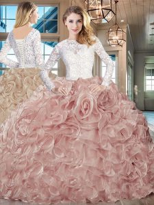 Glorious Champagne Long Sleeves Lace and Ruffles Lace Up Quinceanera Dress