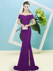 Best Selling Off The Shoulder Short Sleeves Prom Dresses Sweep Train Sequins Dark Purple Sequined