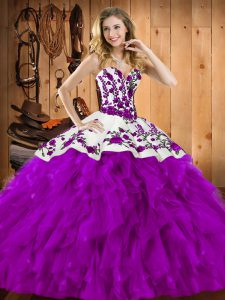Eggplant Purple Sweetheart Lace Up Embroidery and Ruffles Quinceanera Gown Sleeveless