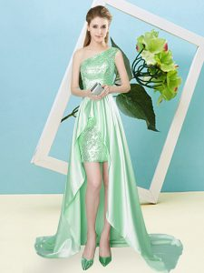Trendy One Shoulder Sleeveless Evening Dress High Low Sequins Apple Green Elastic Woven Satin and Sequined