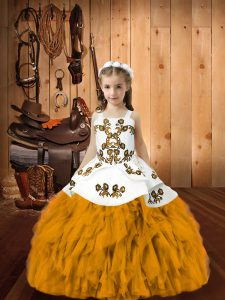 Fashionable Sleeveless Floor Length Embroidery and Ruffles Lace Up Little Girls Pageant Dress Wholesale with Gold