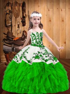 New Arrival Straps Sleeveless Organza Little Girls Pageant Dress Wholesale Embroidery and Ruffles Zipper