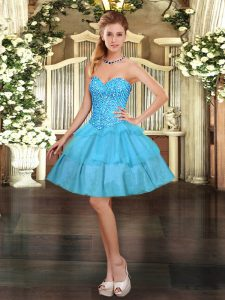 Edgy Aqua Blue Prom Dresses Prom and Party with Beading and Ruffled Layers Sweetheart Sleeveless Lace Up