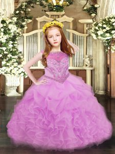Fancy Sleeveless Beading and Ruffles and Pick Ups Zipper Little Girls Pageant Dress Wholesale