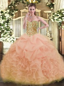 Perfect Peach Sweetheart Neckline Beading and Ruffles 15 Quinceanera Dress Sleeveless Lace Up
