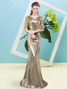 Romantic Yellow Homecoming Dress Prom and Party with Sequins Scoop Half Sleeves Zipper