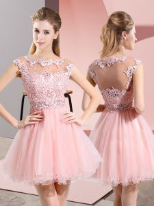 A-line Quinceanera Court Dresses Baby Pink Scoop Tulle Sleeveless Knee Length Side Zipper