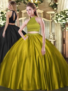 Gorgeous Floor Length Brown 15 Quinceanera Dress Tulle Sleeveless Beading